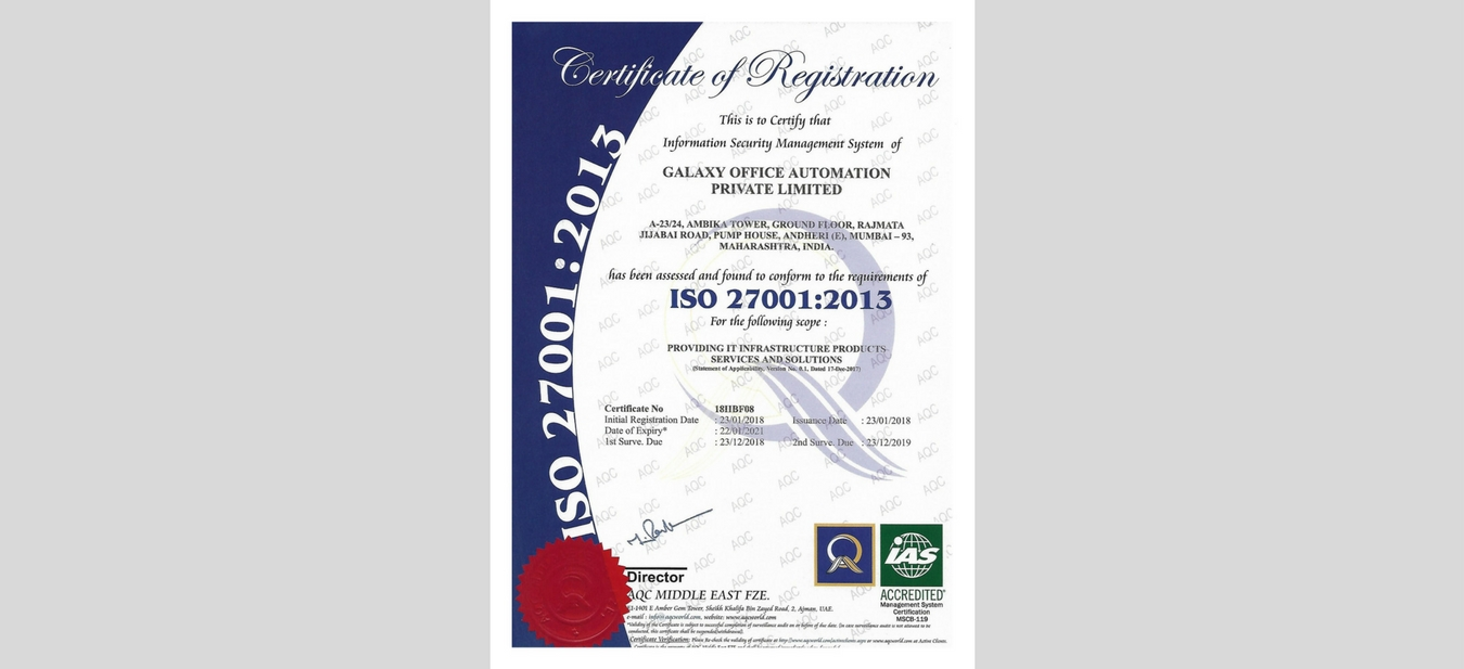 Galaxy-achieves- ISO-Certification-27001:2013-System-Integrator